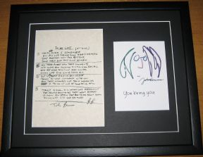 THE BEATLES JOHN LENNON - IN MY LIFE HAND WRITTEN LYRICS - YOU BEING YOU PRINT